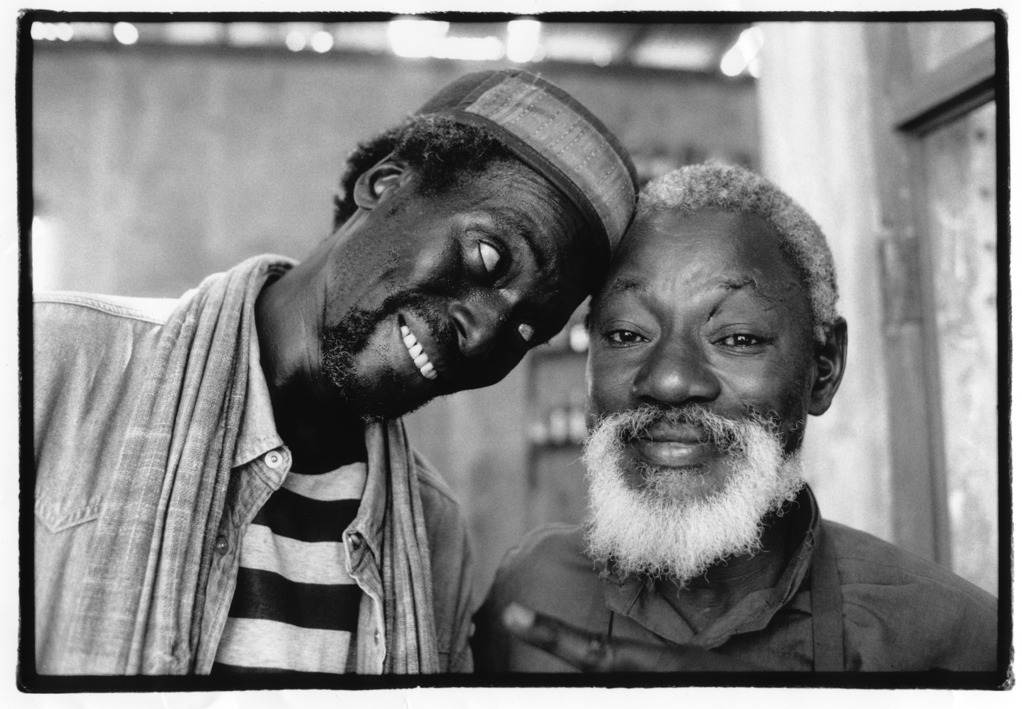 """Shooting of """"Hyenes"""" , directed by Djibril Diop Mambety 1990 Official Selection of Cannes Filmfestival 1992. Film based on """"Le visite de la vieille dame"""" de Friedrich DŸrrenmatt. Djibril Diop Mambety with Mansour Diouf , his main Actor"""